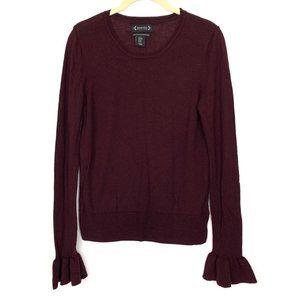 Nanette Lepore Merino Wool Ruffle Sleeve Sweater